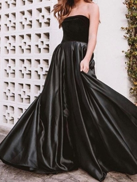 Ericdress Strapless Floor-Length A-Line Sleeveless Evening Dress 2019