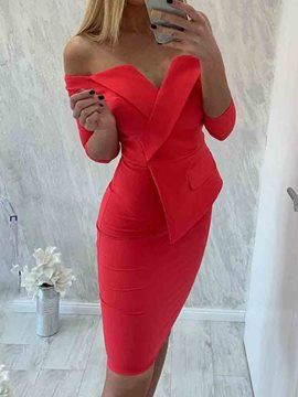Ericdress Off Shoulder OL Above Knee Bodycon Dress