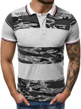 Ericdress Color Block Print Mens Polo Shirt