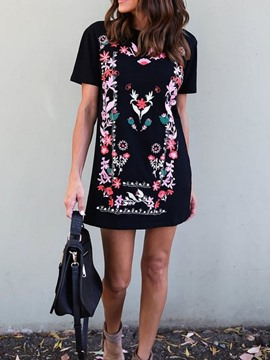 Ericdress Straight Embroidery Short Sleeve Above Knee Casual Dress