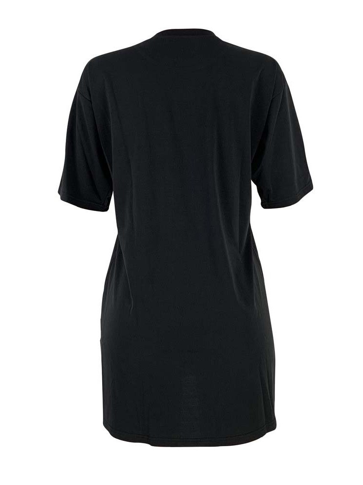 Ericdress Letter Color Block Mid-Length Round Neck Summer T-Shirt