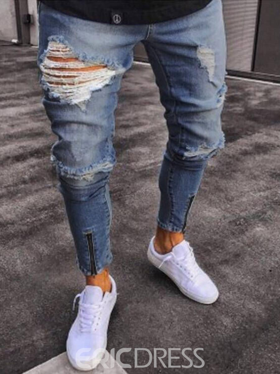 Men's Clothing Blue Ripped Skinny Pencil Jeans