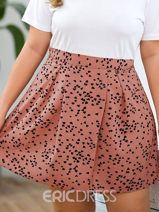 Ericdress Plus Size Mini A-Line Print Skirt