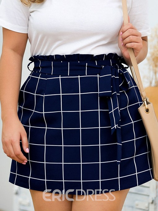 Ericdress Plus Size Plaid A-Line Pocket Office Lady Skirt