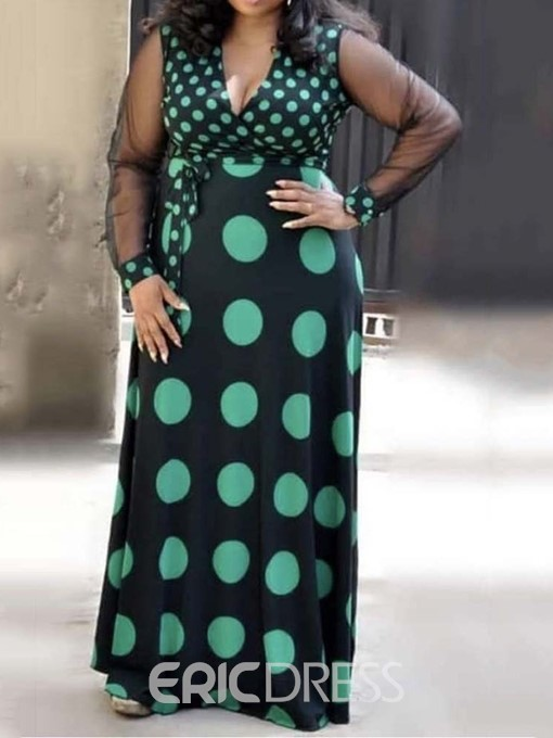Ericdress Plus Size Polka Dots V-Neck Patchwork Floor-Length A-Line Maxi Dress