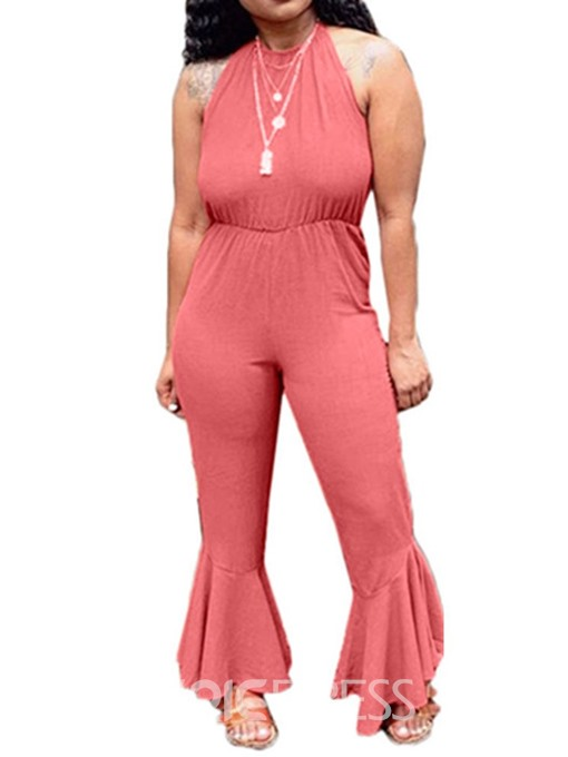 Ericdress Plain Bellbottom Lace-Up Full Length Slim Jumpsuit