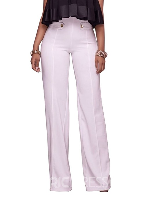 Ericdress Slim Button Plain Full Length High Waist Casual Pants