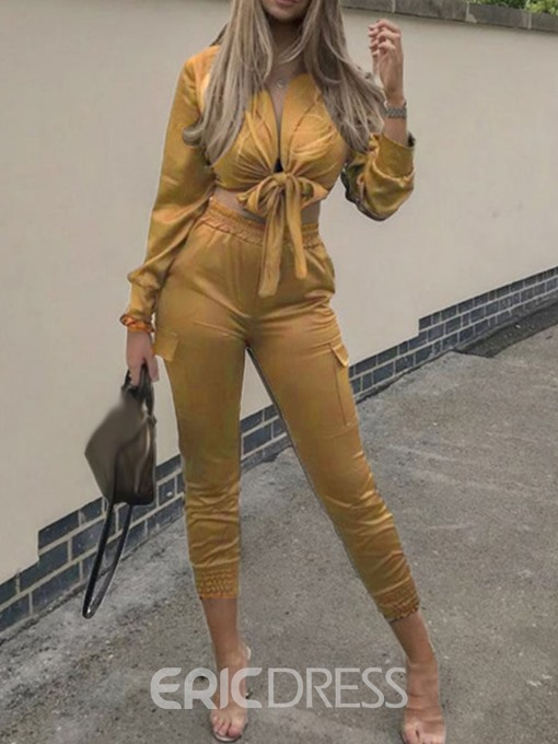 Ericdress Plain Lace-Up Sexy Skinny Women's Suit Shirt And Pants Two Piece Sets