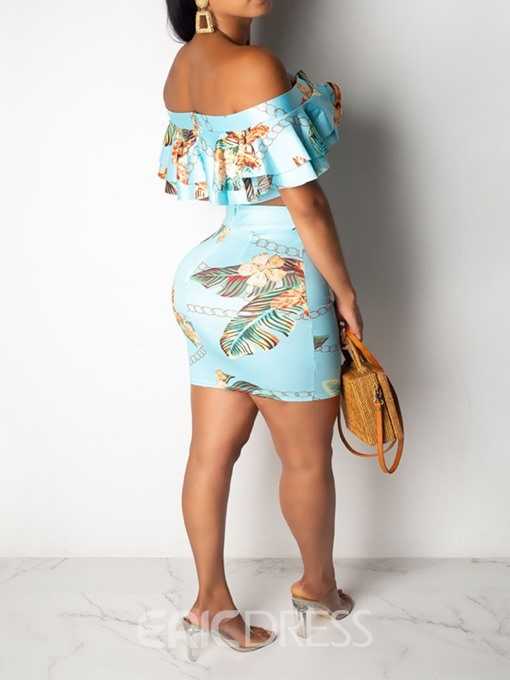 Ericdress Floral Off Shoulder Print Bodycon T-Shirt And Skirt Two Piece Sets