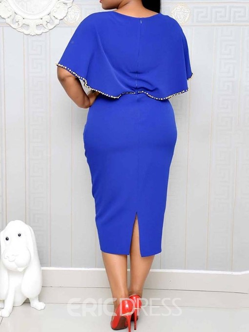 Ericdress Bead Batwing Sleeve OL Asymmetric Bodycon Dress