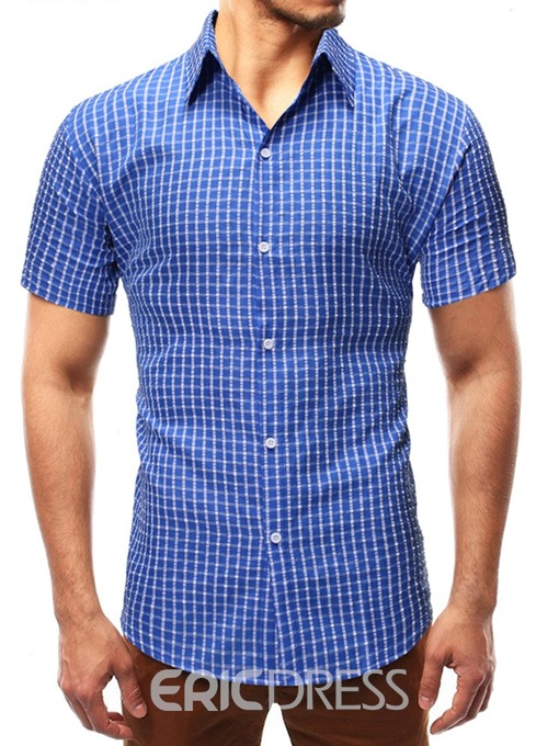 Ericdress Lapel Casual Plaid Mens Single-Breasted Shirt