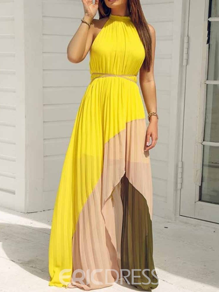 Ericdress Pleated Color Block Sleeveless Asymmetric Floor-Length Dress