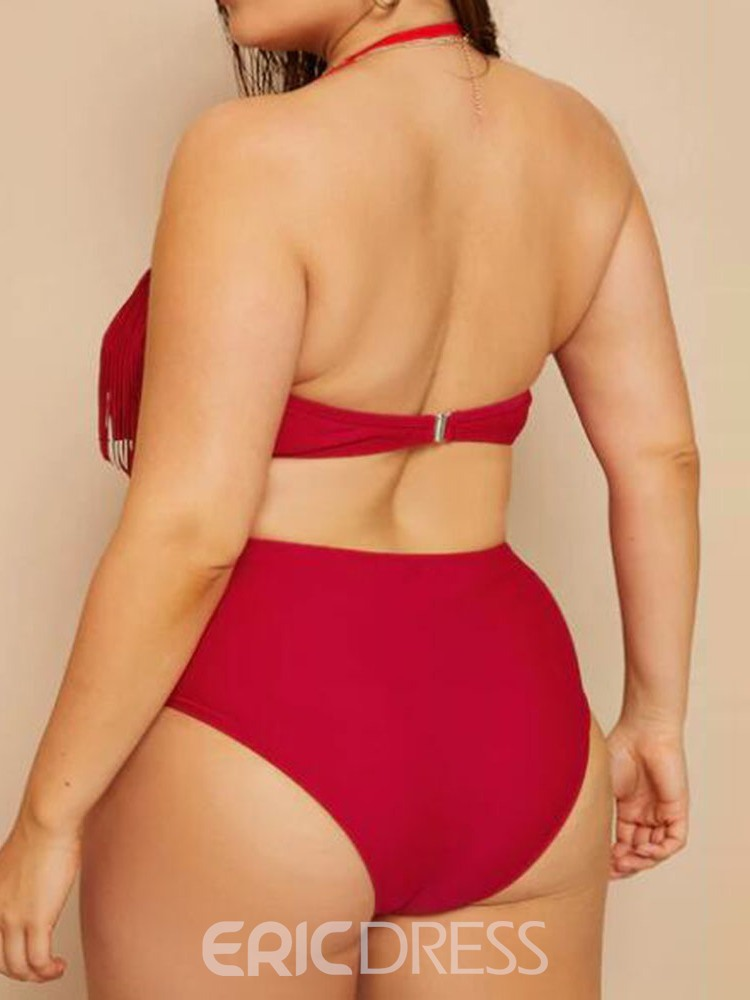 Ericdress Plus Size Tassel Stretchy Sexy Swimsuit