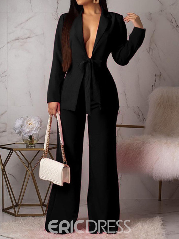 Ericdress Plain Lace-Up Wide Legs Women's Suit Coat And Pants Two Piece Sets(Without Waistband)