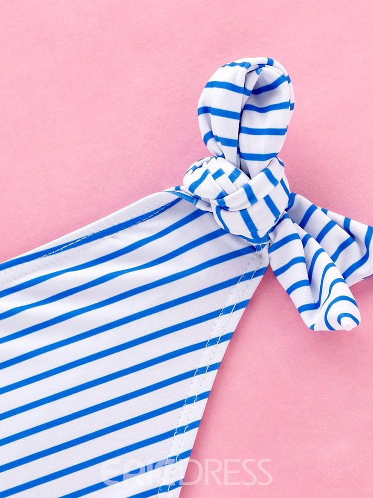 Ericdress Plus Size Stripe Bowknot Lace-Up Swimsuit