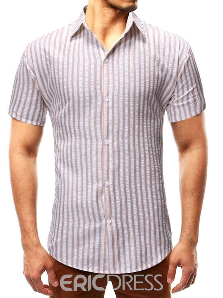 Ericdress Stripe Casual Garment Dyed Mens Slim Shirt