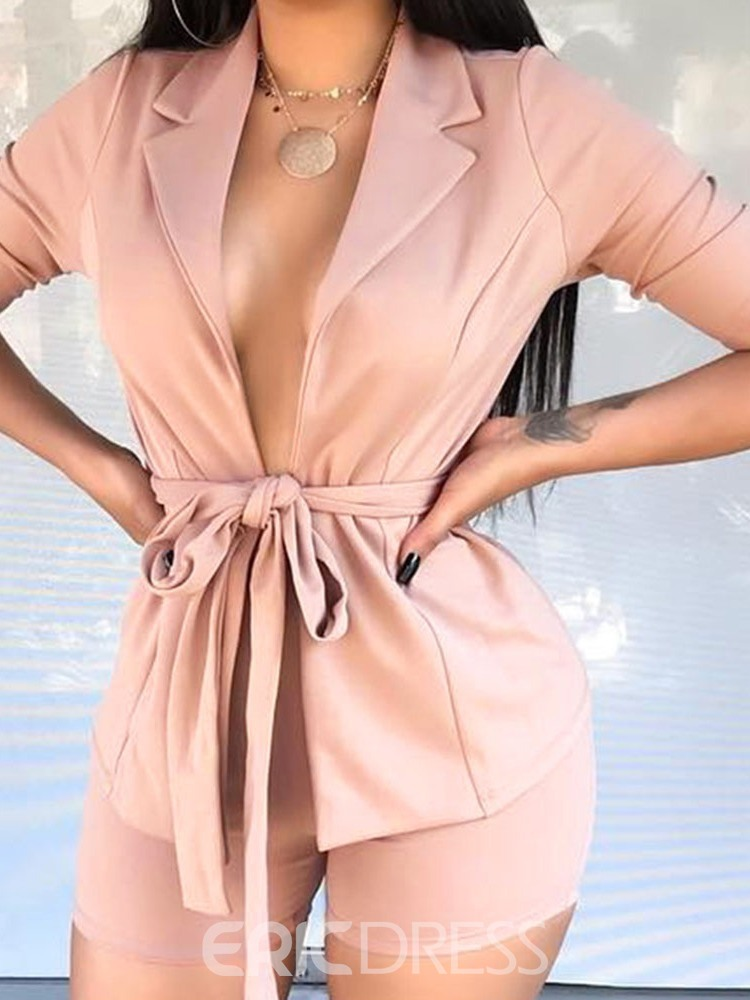 Ericdress Plain Lace-Up Women's Formal Suit Coat And Shorts Two Piece Sets