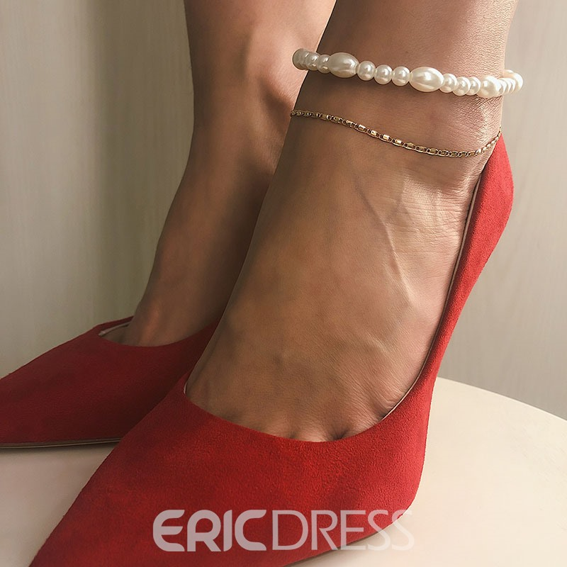 Ericdress Sweet Plain Pearl Anklet