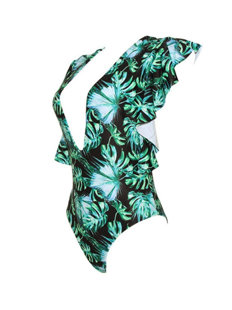 Ericdress V-Neck Print Ruffles Sleeves Plant Swimwear
