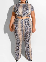 Ericdress coupon: Ericdress Plus Size Print Office Lady T-Shirt And Pants Two Piece Sets