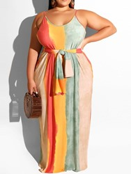 Ericdress Plus Size Striped Pocket Floor-Length Sleeveless Dress фото