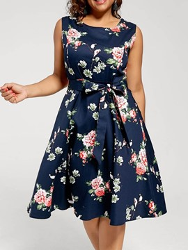 Ericdress Floral Print A-Line Round Neck Sleeveless Mid-Calf Dress