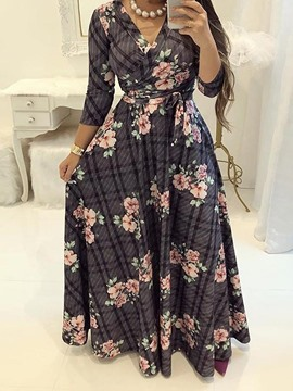 Ericdress Plus Size Floral Expansion Floor-Length A-Line Dress