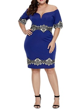 Ericdress Plus Size Off Shoulder Patchwork Bodycon Knee-Length Dress