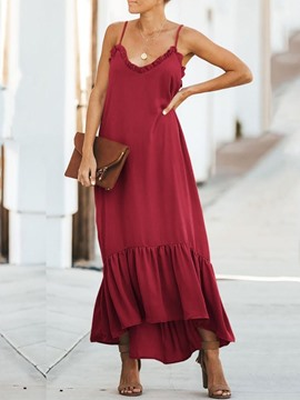 Ericdress Sleeveless Pleated Ankle-Length Asymmetrical Travel Look Dress
