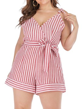 Ericdress Plus Size Lace-Up Stripe Loose Romper