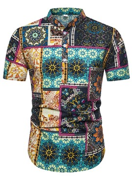 Ericdress Floral Button Stand Collar Mens Slim Shirt