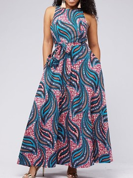 Ericdress Floor-Length Print Expansion Pocket Geometric Dress