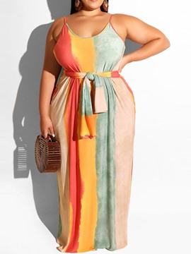 Ericdress Plus Size Striped Pocket Floor-Length Sleeveless Dress