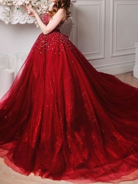 Ericdress Floor-Length Beading Court Train Sleeveless Evening Dress 2019