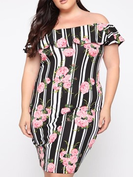 Ericdress Plus Size Striped Off Shoulder Floral Knee-Length Pullover Dress