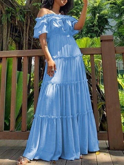 Ericdress Off Shoulder Pleated Short Sleeve Floor-Length Pullover Summer Dress