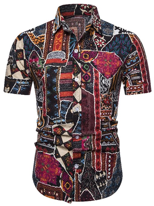 Ericdress Floral Lapel Print Mens Single-Breasted Shirt