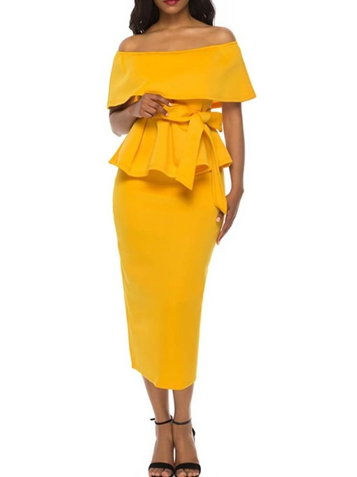 Ericdress Ruffles Bowknot Plain Off Shoulder Women's Suit Shirt And Skirt Two Piece Sets