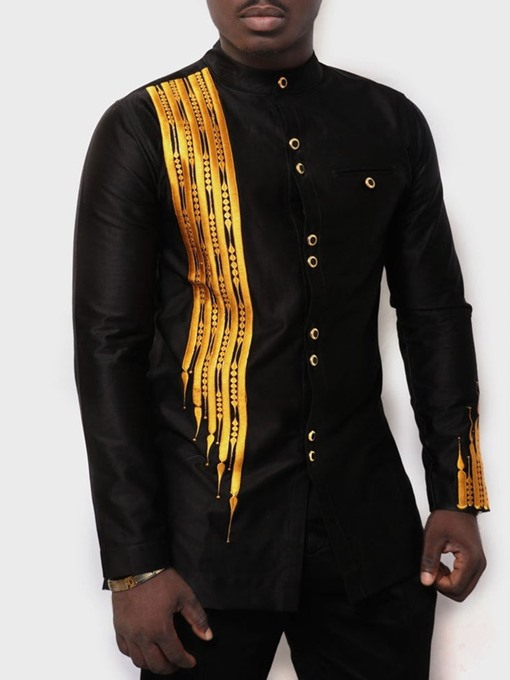 Ericdress African Fashion Stand Collar Color Block Casual Mens Loose T-shirt