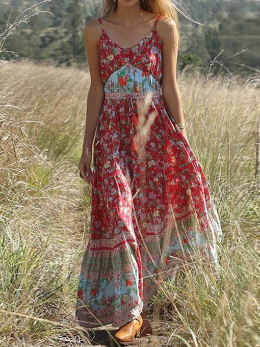 Ericdress Bohemian Expansion Ankle-Length Pleated Floral Travel Look Dress