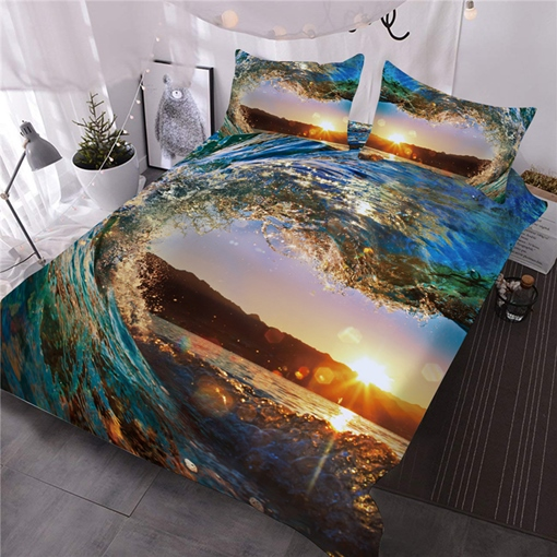 The Waves Polyester Reactive Printing Three-Piece Set Comforter Set