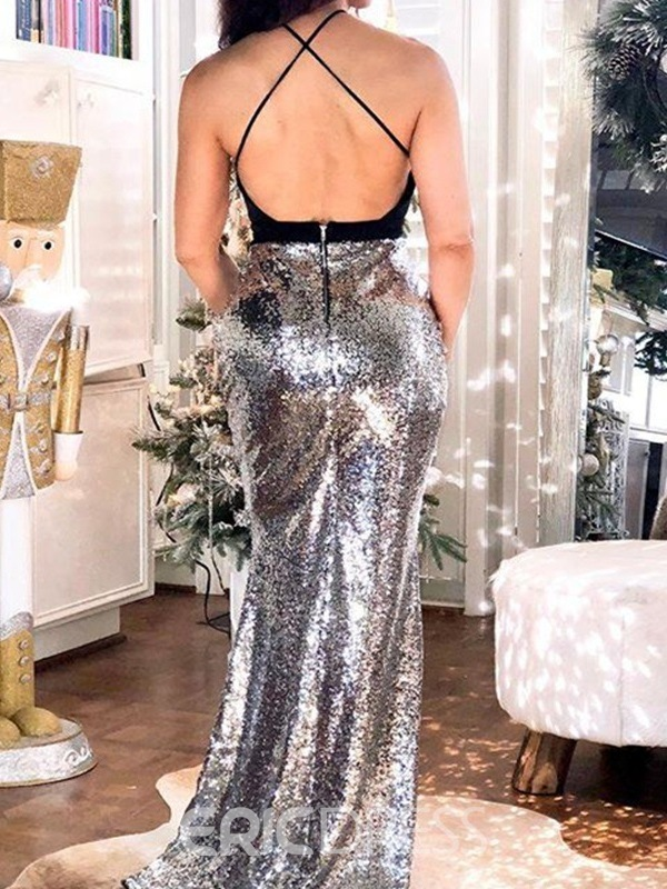 Ericdress Trumpet Floor-Length Sequins Spaghetti Straps Evening Dress 2019