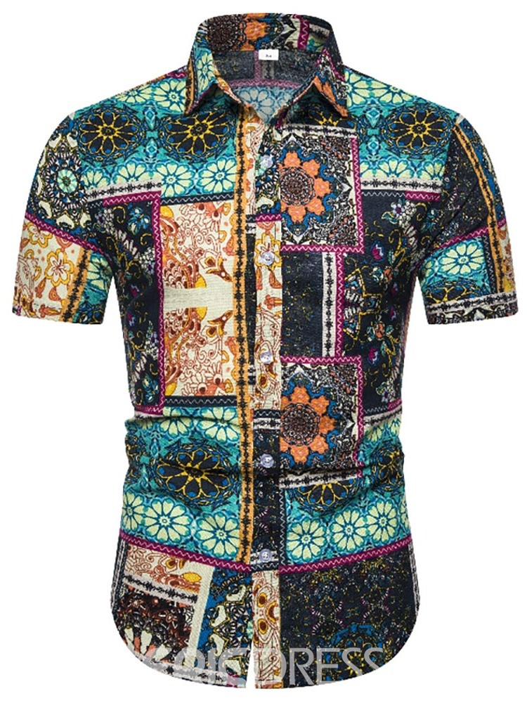Ericdress Button Casual Floral Mens Single-Breasted Shirt