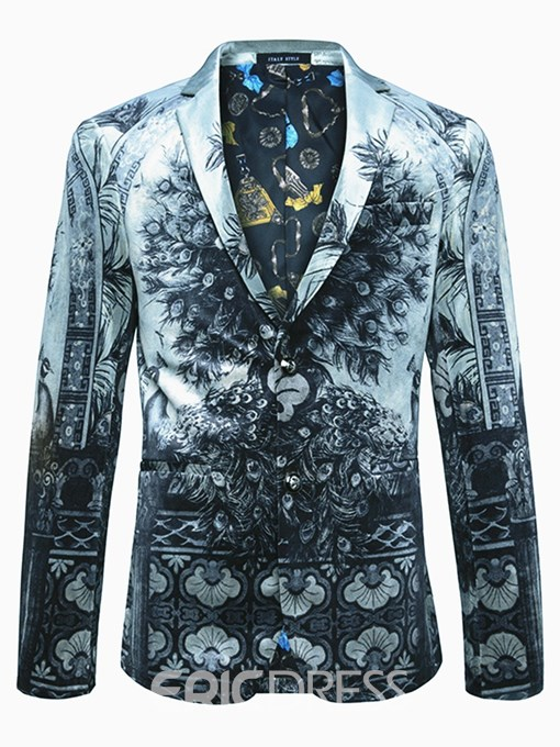 Ericdress Single-Breasted 3D Peacock Print Classic Vogue Men's Blazer