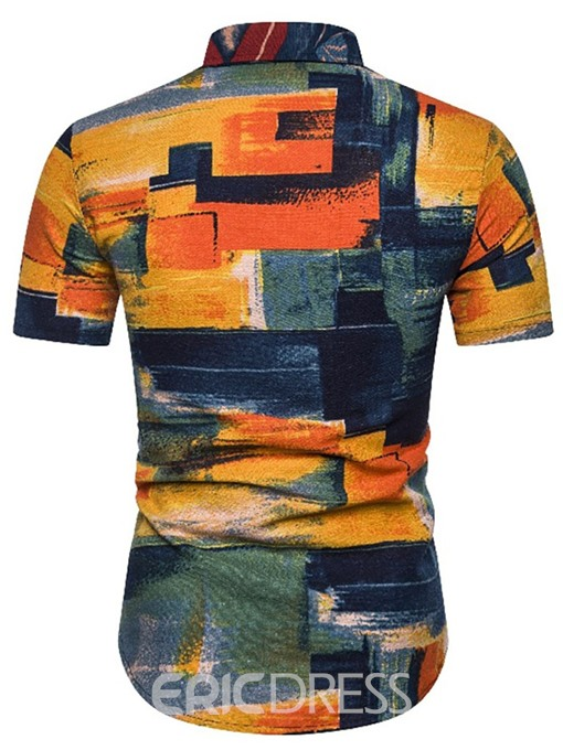 Ericdress Color Block Casual Mens Single-Breasted Shirt