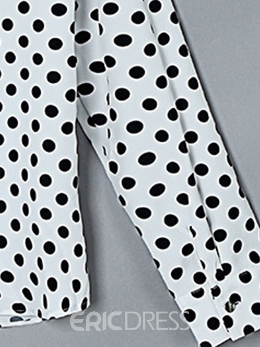 Ericdress Polka Dots Button Stand Collar Loose Blouse