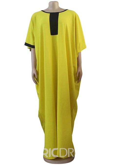 Ericdress Casual Batwing Sleeve Floor-Length Color Block Straight Dress