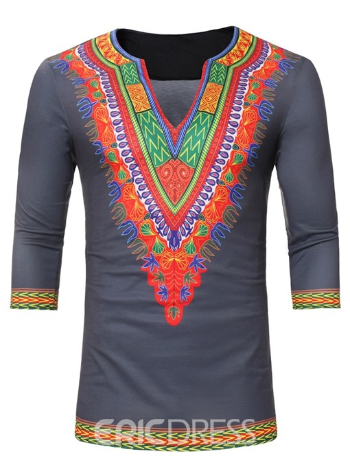 Ericdress African Fashion Dashiki Print V-Neck Slim Men's Shirt