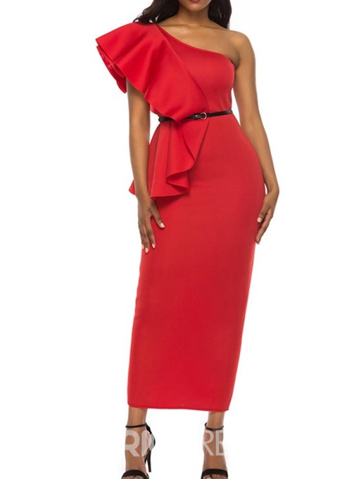 Ericdress Oblique Collar Cap Sleeve Mid-Calf Pullover One-Shoulder Pencil Dress