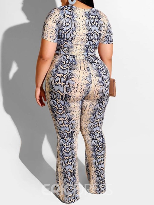 Ericdress Plus Size Print Office Lady T-Shirt And Pants Two Piece Sets